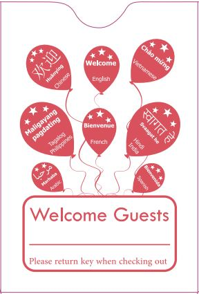 "Hotel/ Motel ""Welcome Guest"" Keycard Sleeve, 2 3/8"" X 3 1/2"", Printed in Red, Premium 24lb. Paper, 500/Box (KCH260R)"
