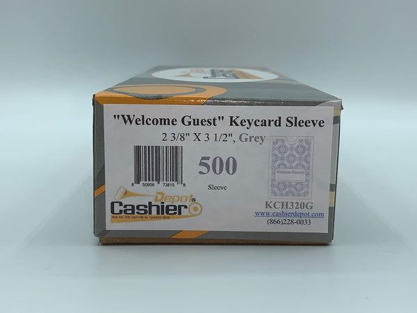 "Cashier Depot ""Welcome Guest"" Keycard Sleeve, 2 3/8"" X 3 1/2"", Gray, 24lb., 500/Box"