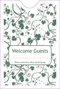 "Cashier Depot ""Welcome Guest"" Keycard Sleeve, 2 3/8"" X 3 1/2"", Olive Green, 24lb., 500/Box"