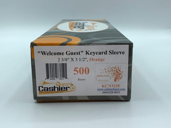 "Cashier Depot ""Welcome Guest"" Keycard Sleeve, 2 3/8"" X 3 1/2"", Orange, 24lb., 500/Box"
