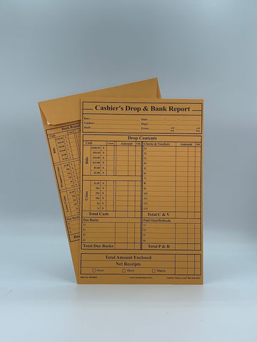 "Cashier Depot MK960S Cashier's Drop & Bank Report Envelopes, 6"" x 9"", Peel & Seal, Open End, Premium 28lb Kraft, 500/Box"