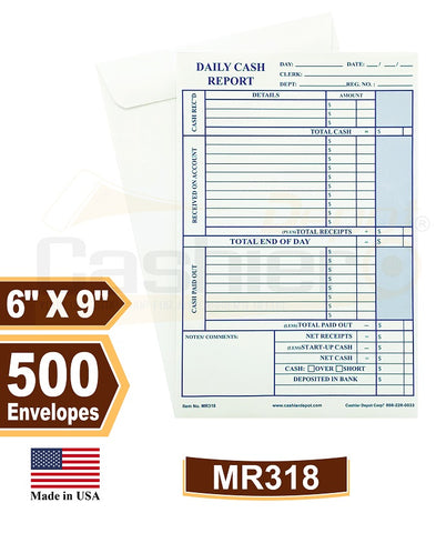 "Cashier Depot MR318 Daily Cash Report Envelope, 6"" x 9"",Open End, Premium 28lb White, Gum Flap, 500/Box"