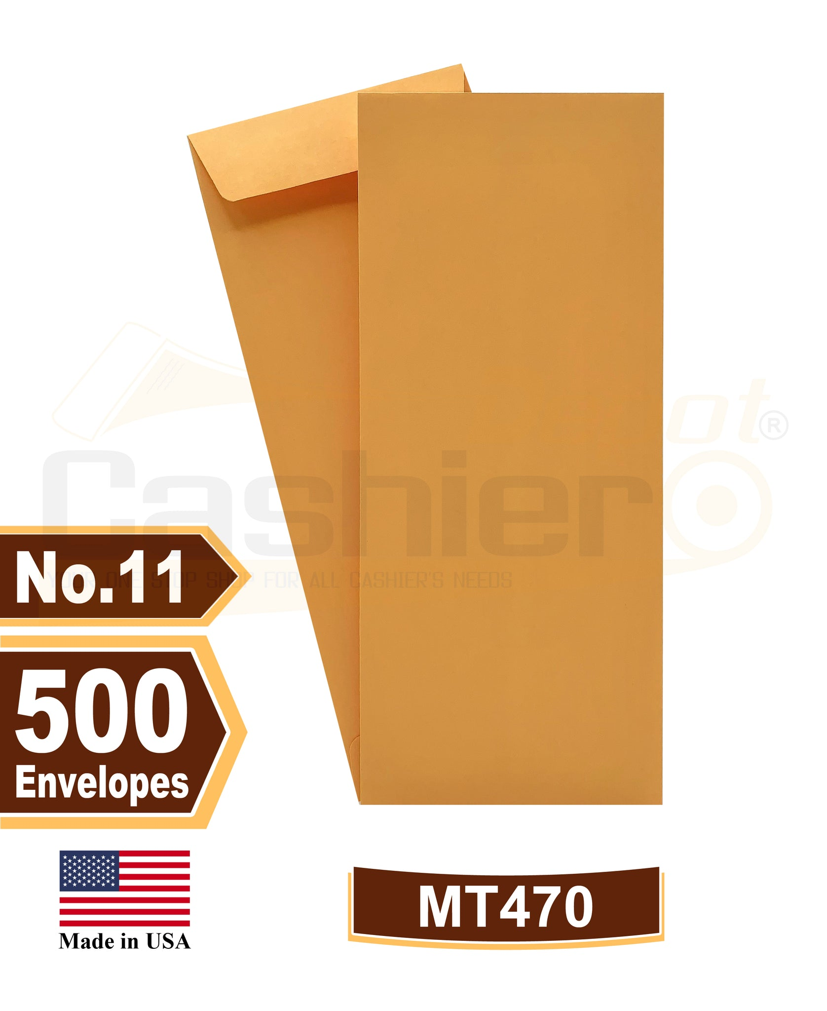 Cashier Depot #11 Policy (Open End) Envelope, 4 1/2 x 10 3/8, Premium 24lb. Kraft, Gum Flap, 500/Box