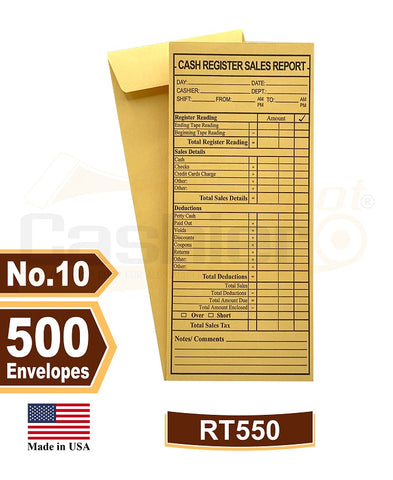 "Cashier Depot RT550 Cash Register Sales Report Envelope, 4 1/8"" x 9 1/2"", Premium 24lb Kraft, Gum Flap, 500/Box"