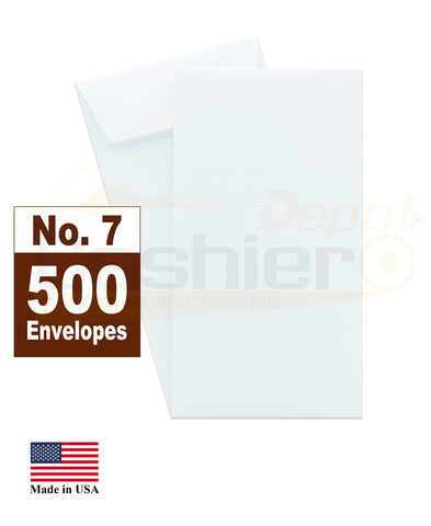 "Cashier Depot #7 Coin Envelopes, 3-1/2"" X 6-1/2"", White, 24lb., Gum Flap, 500/Box"