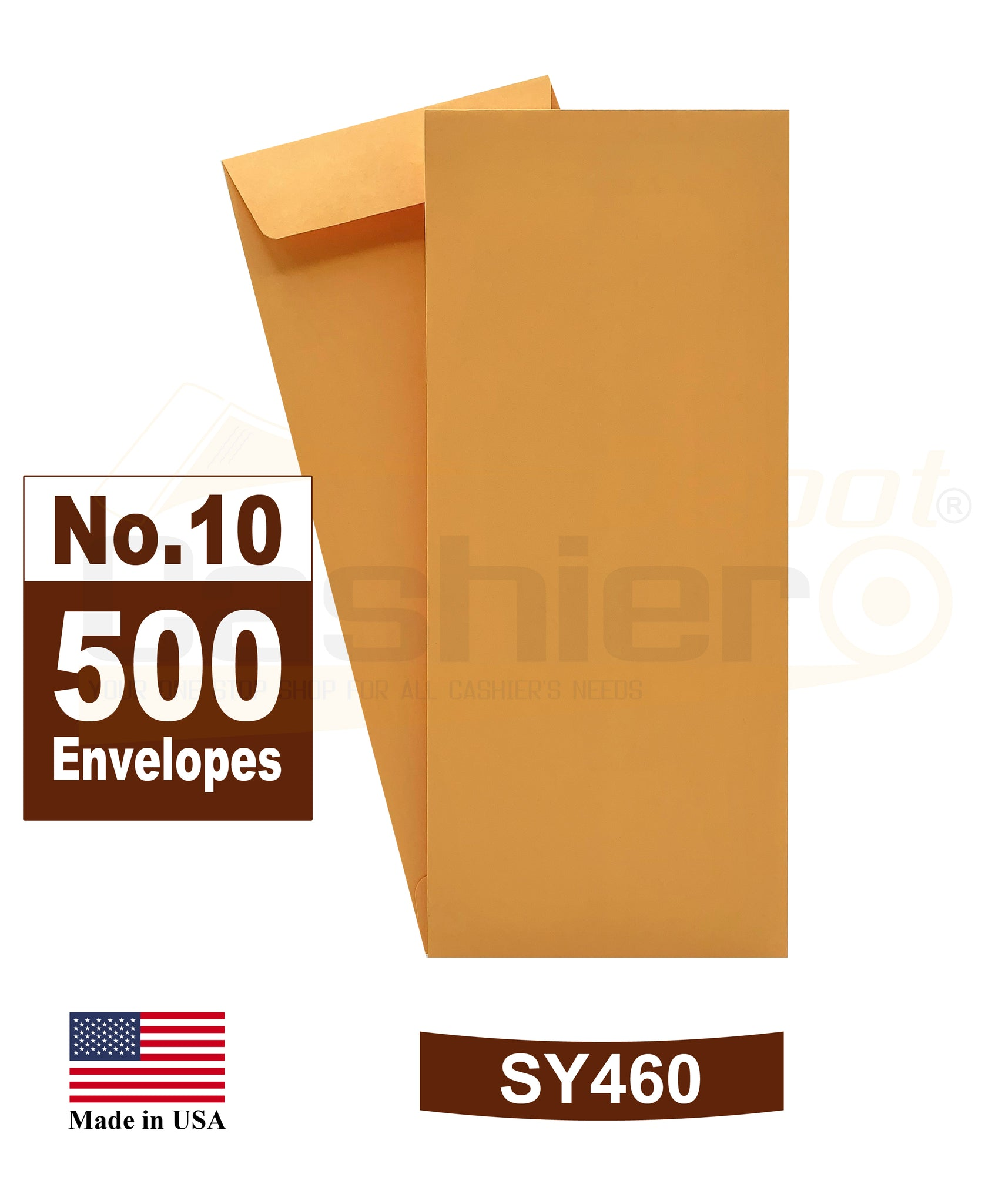 Cashier Depot #10 Policy (Open End) Envelope, 4 1/8 x 9 1/2, Premium 24lb. Kraft, Peel & Seal Flap, 500/Box