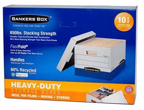 "Bankers Storage Boxes, Heavy-Duty, 10 W x 12"" H x 15"" D, 10/PK"