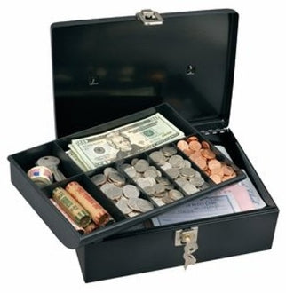 Cash Box with 7-Compartment Tray, Steel, 11 x 7 3/4 x 5, Black