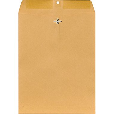 "10"" x 13"" Clasp Catalog (Open End) Envelopes, Premium 28lb. Kraft, Gum Flap, 150/Box"