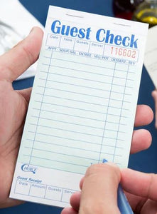 Guest Check 1 Part Green & White, Bottom Guest Receipt, 50/Case