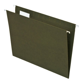 Hanging Folders, Letter Size, 5 Tab, Green, 50 per Box