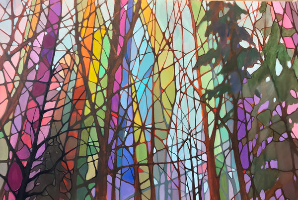 "Acrylic painting on 1 1/2"" gallery canvas 36"" x 24"". This colourful, peaceful forest landscape is an original Nancy L Moore Canadian painting. Perfect for hanging in either your home or office this dramatic, vivid landscape could be the perfect finishing touch."