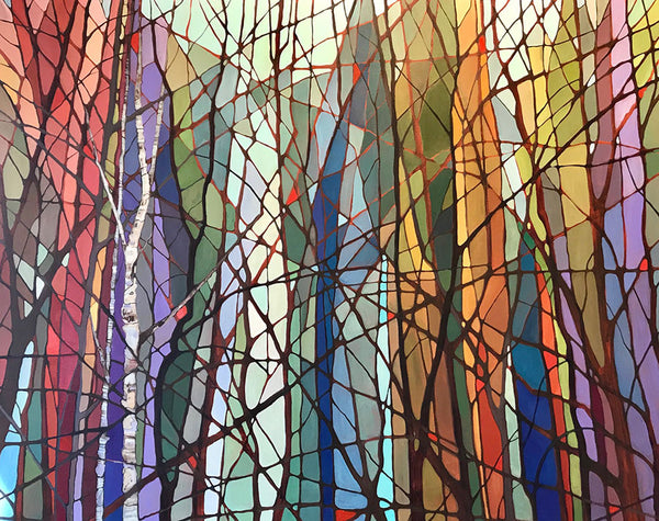 "Make room for this 60"" x 48"" acrylic painting. Finished on 1 1/2"" gallery canvas, there is no need to frame. Get lost in a mesmerizing, relaxing forest inspired work of original art by Nancy L Moore. Surround yourself with trees that are among the most handsome and tall in Nancy's signature stained glass style. Perfect for decorating both home or office."