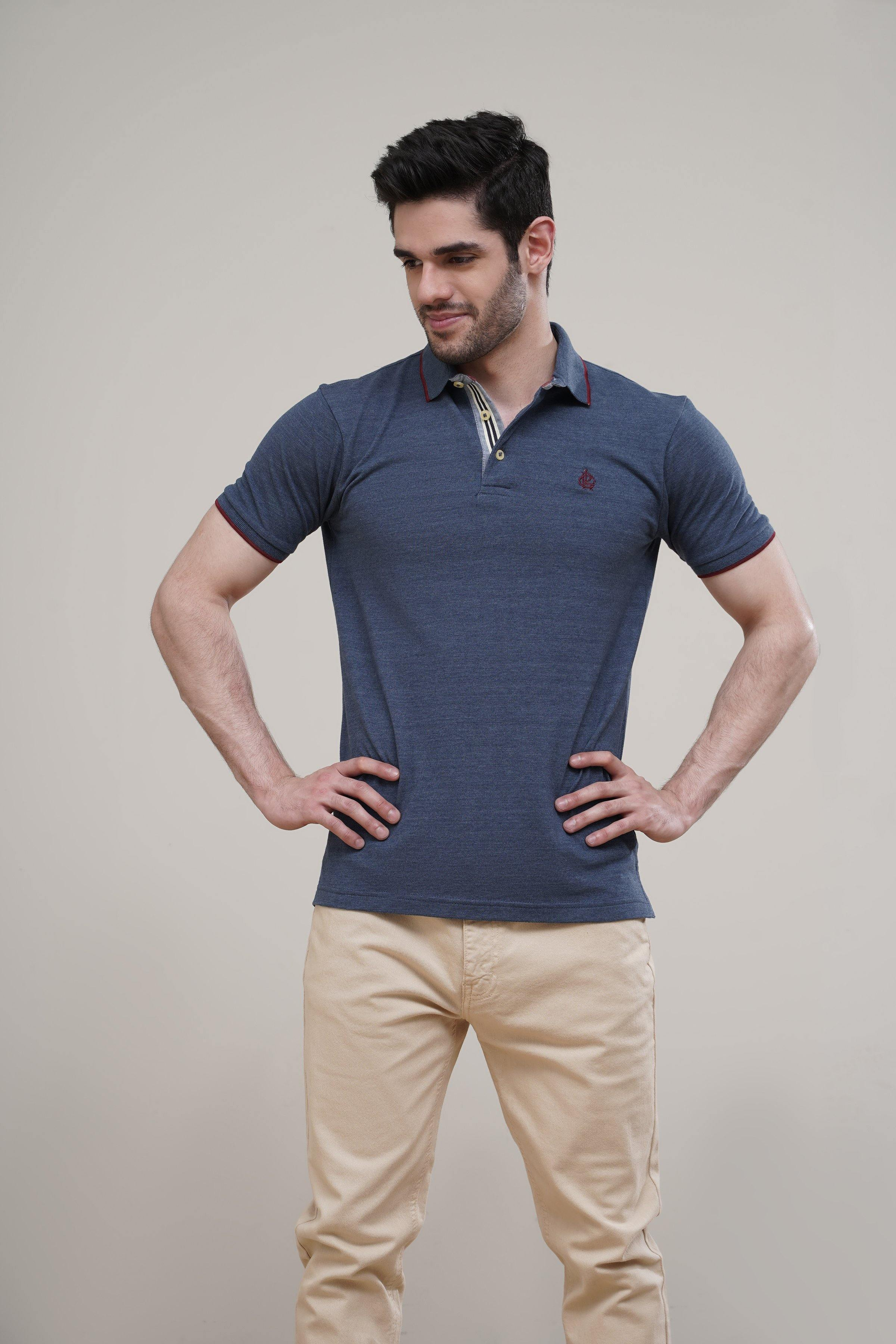 POLO SHIRT TIPPING COLLAR BLUE - Charcoal Clothing