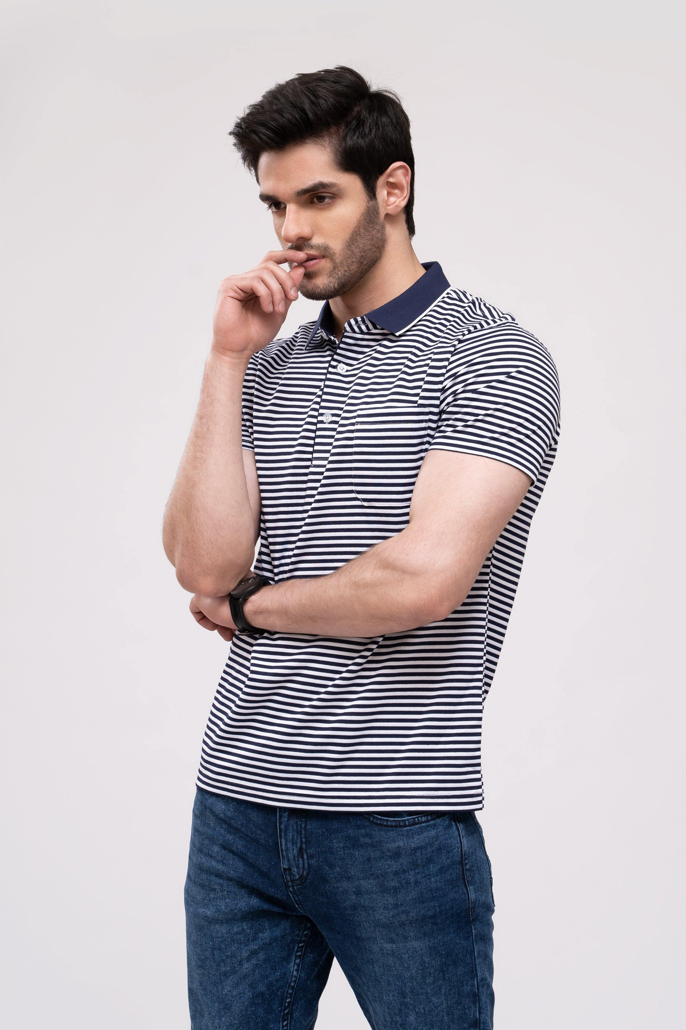POLO SHIRT NAVY WHITE - Charcoal Clothing