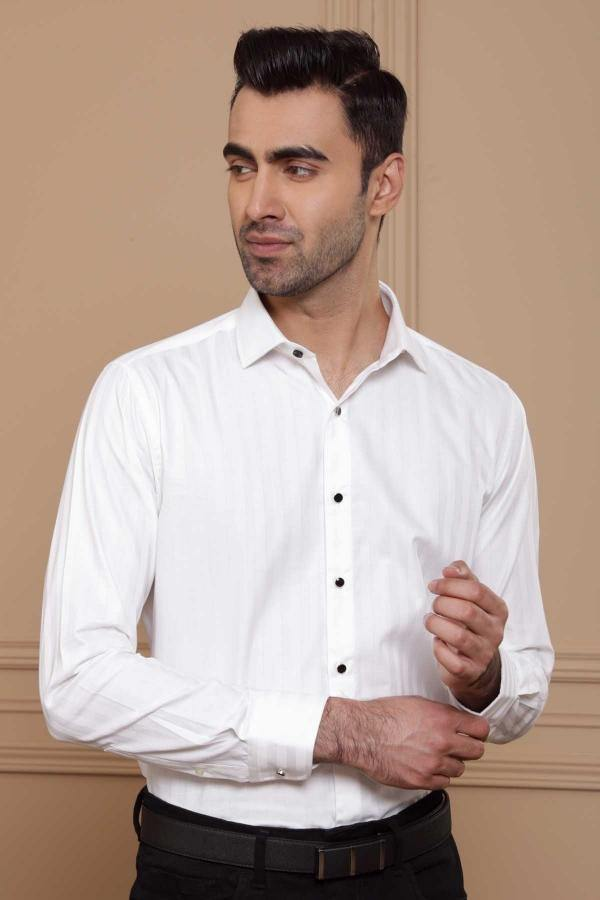 TUXEDO SHIRT FRENCH COLLAR WHITE - Charcoal - 14.5 - 15 -
