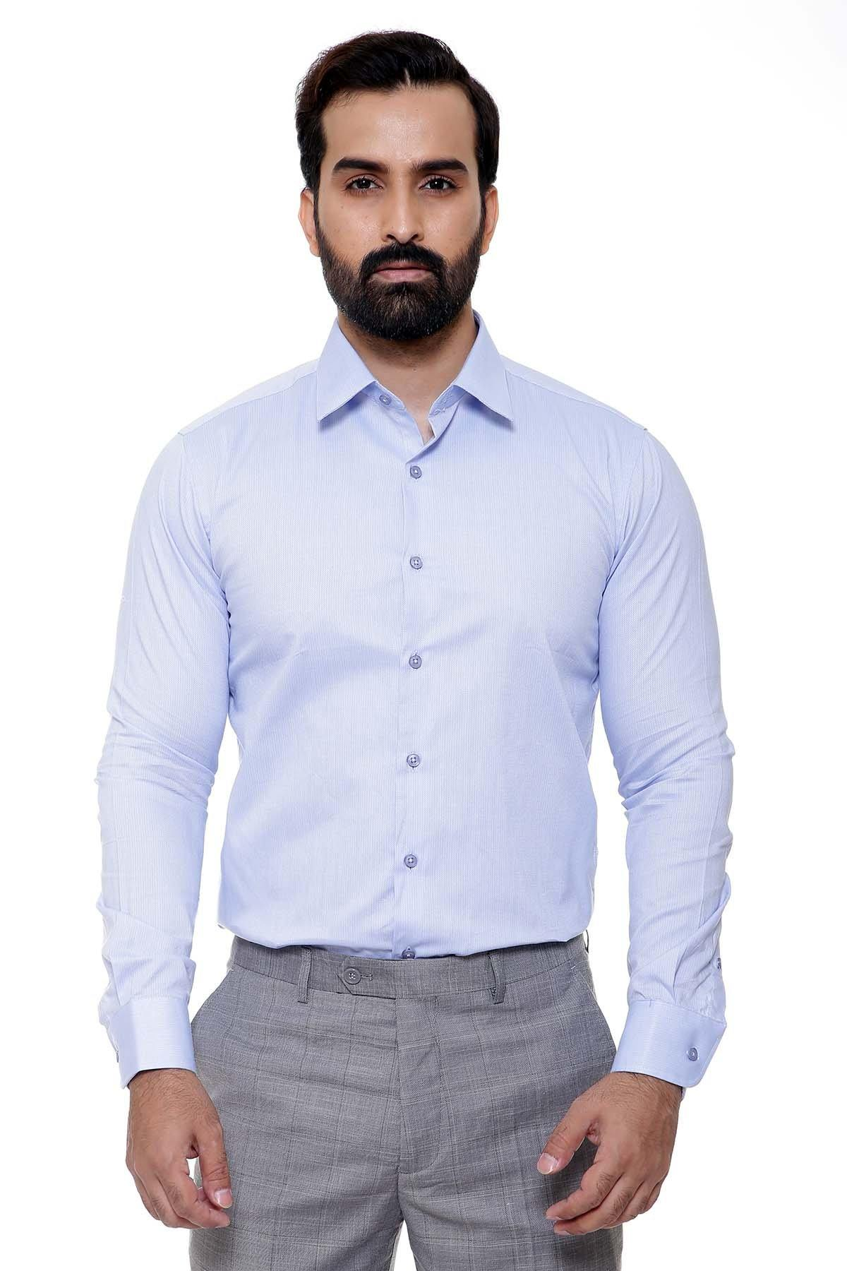 DRESS SHIRT FULL COLLAR LIGHT SKY - Charcoal - SHIRTS -