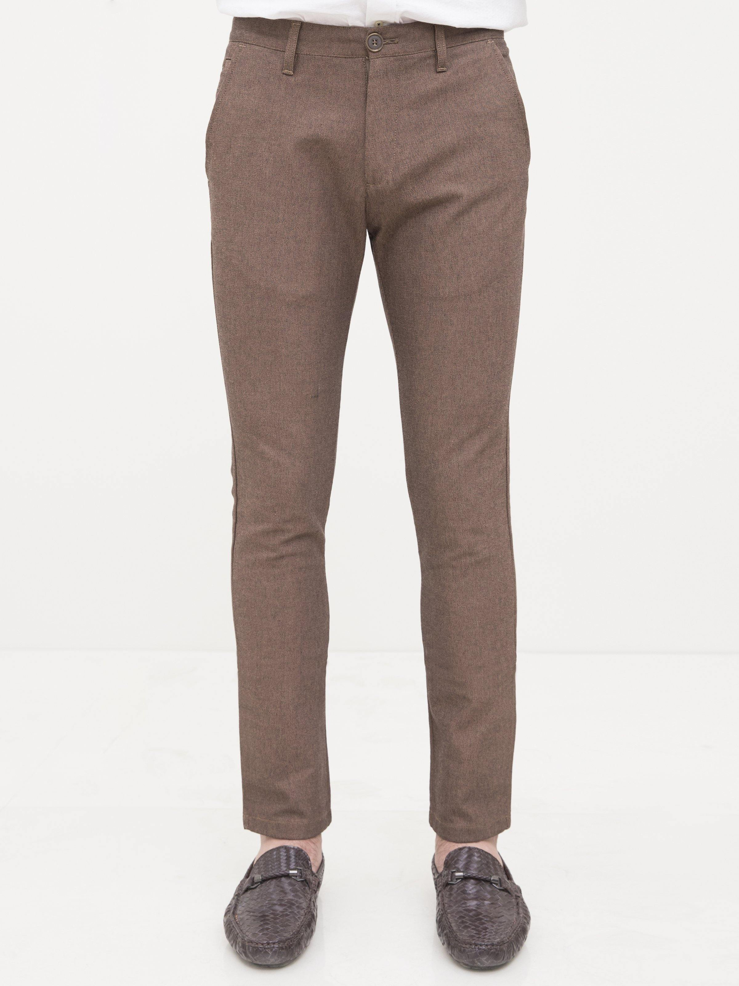 CASUAL PANT CROSS POCKET SLIM FIT BROWN - Charcoal Clothing