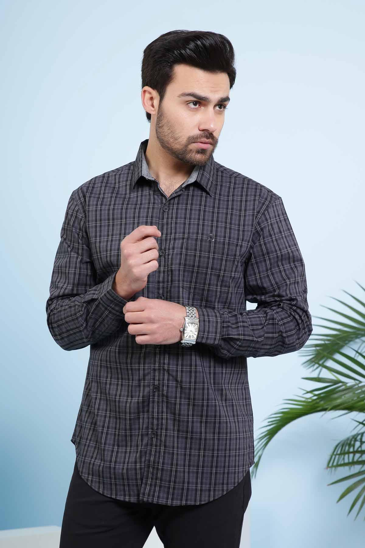 CASUAL SHIRT FULL SLEEVE SLIM FIT CHARCOAL GREY - Charcoal -