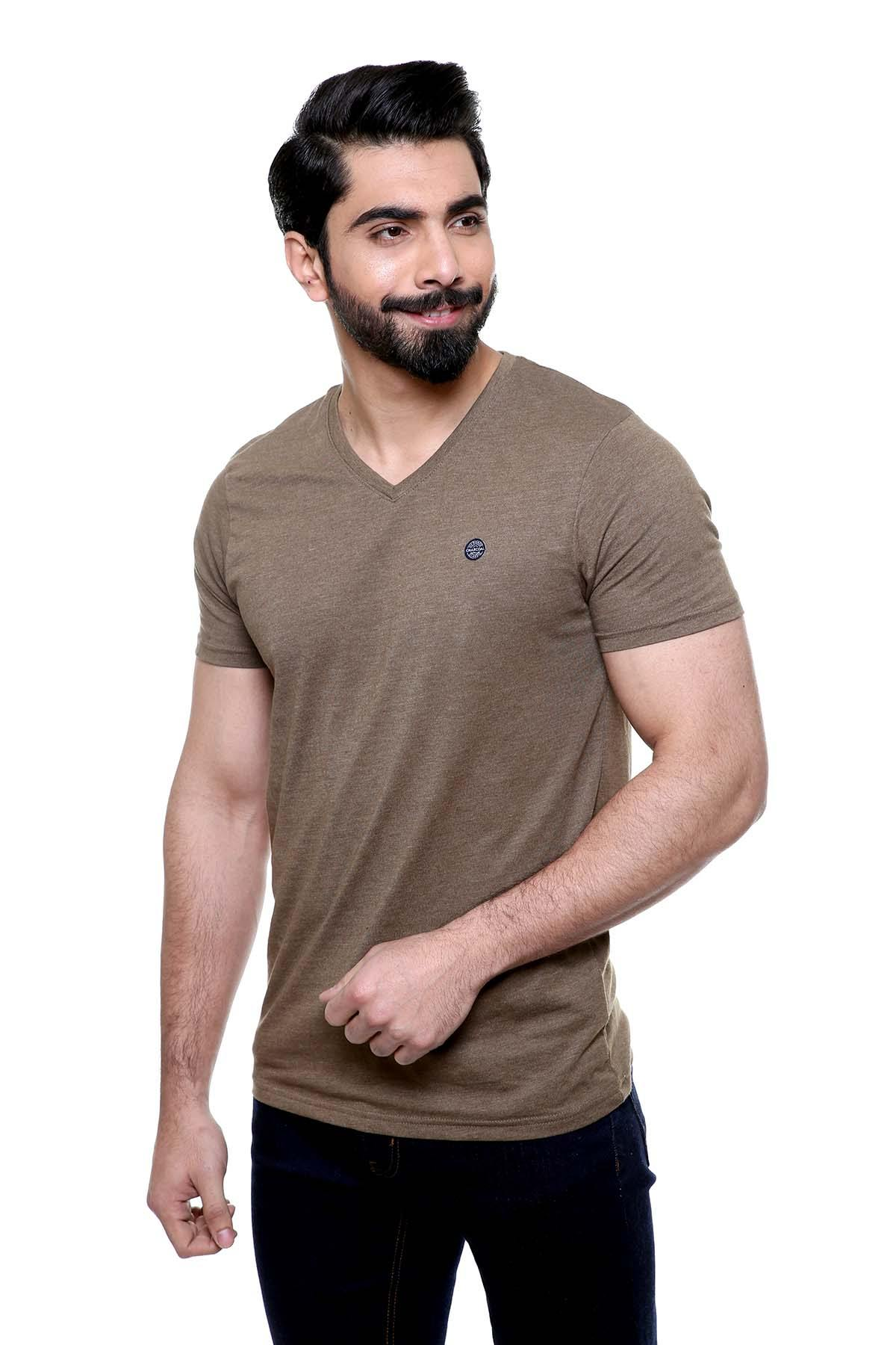 T SHIRT V NECK OLIVE - Charcoal - FAIR PRICE SHOP - POLO &