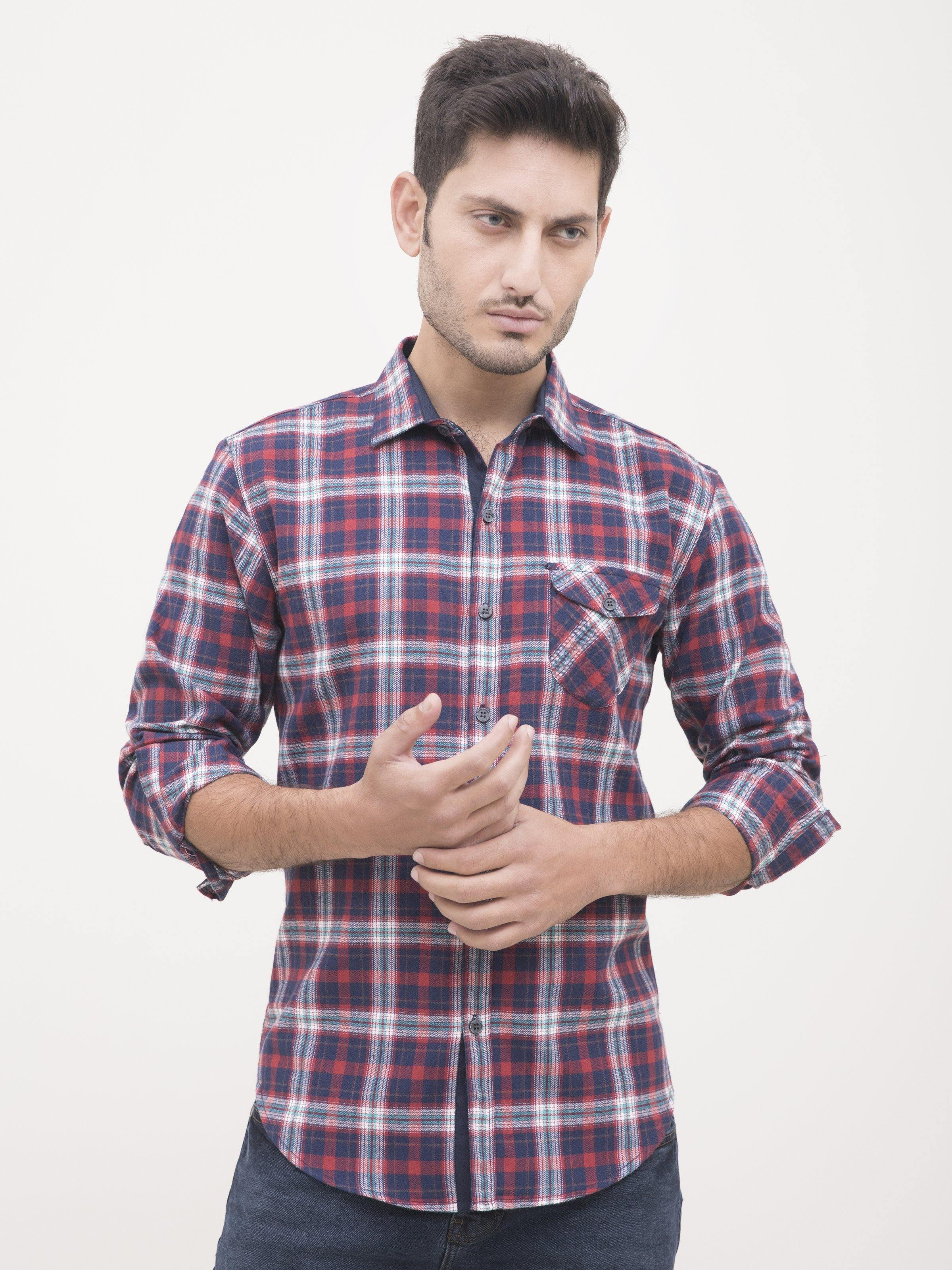 CASUAL SHIRT FULL SLEEVE RED CHECK - Charcoal Clothing -