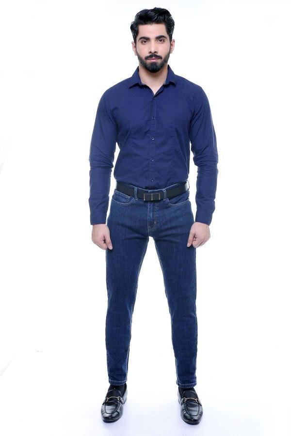 CASUAL SHIRT FULL SLEEVE NAVY SLIM FIT - Charcoal -