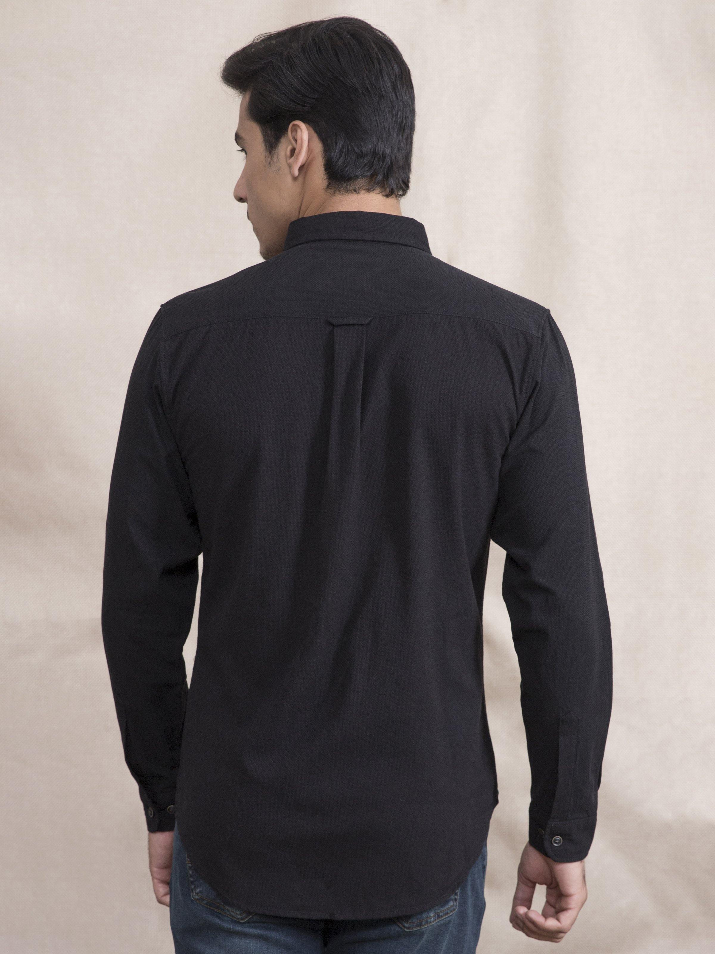 CASUAL SHIRT SLIM FIT FULL SLEEVE BLACK - Charcoal Clothing