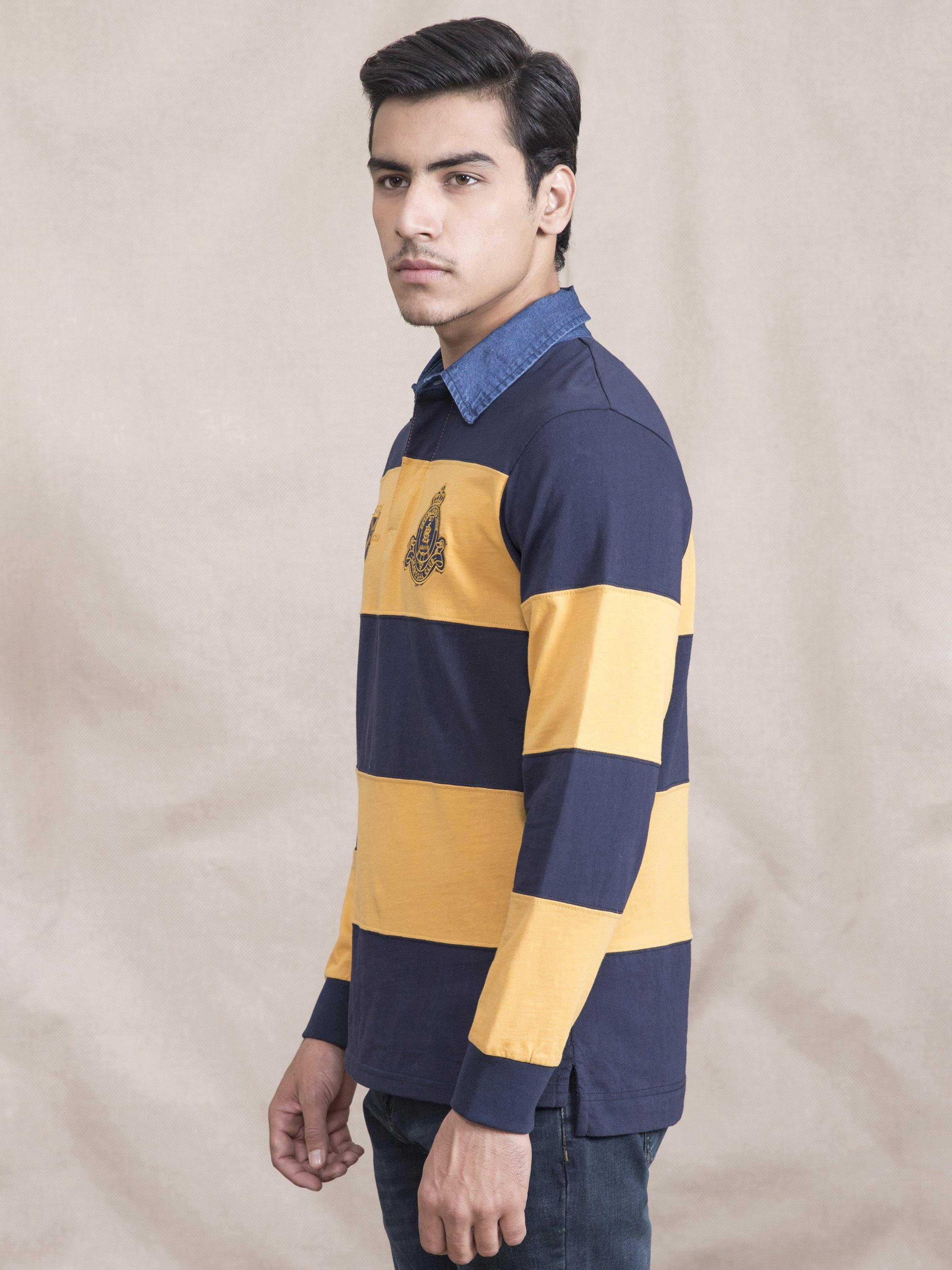 POLO SHIRT RUGBBY DENIM COLLAR MUSTARD NAVY - Charcoal