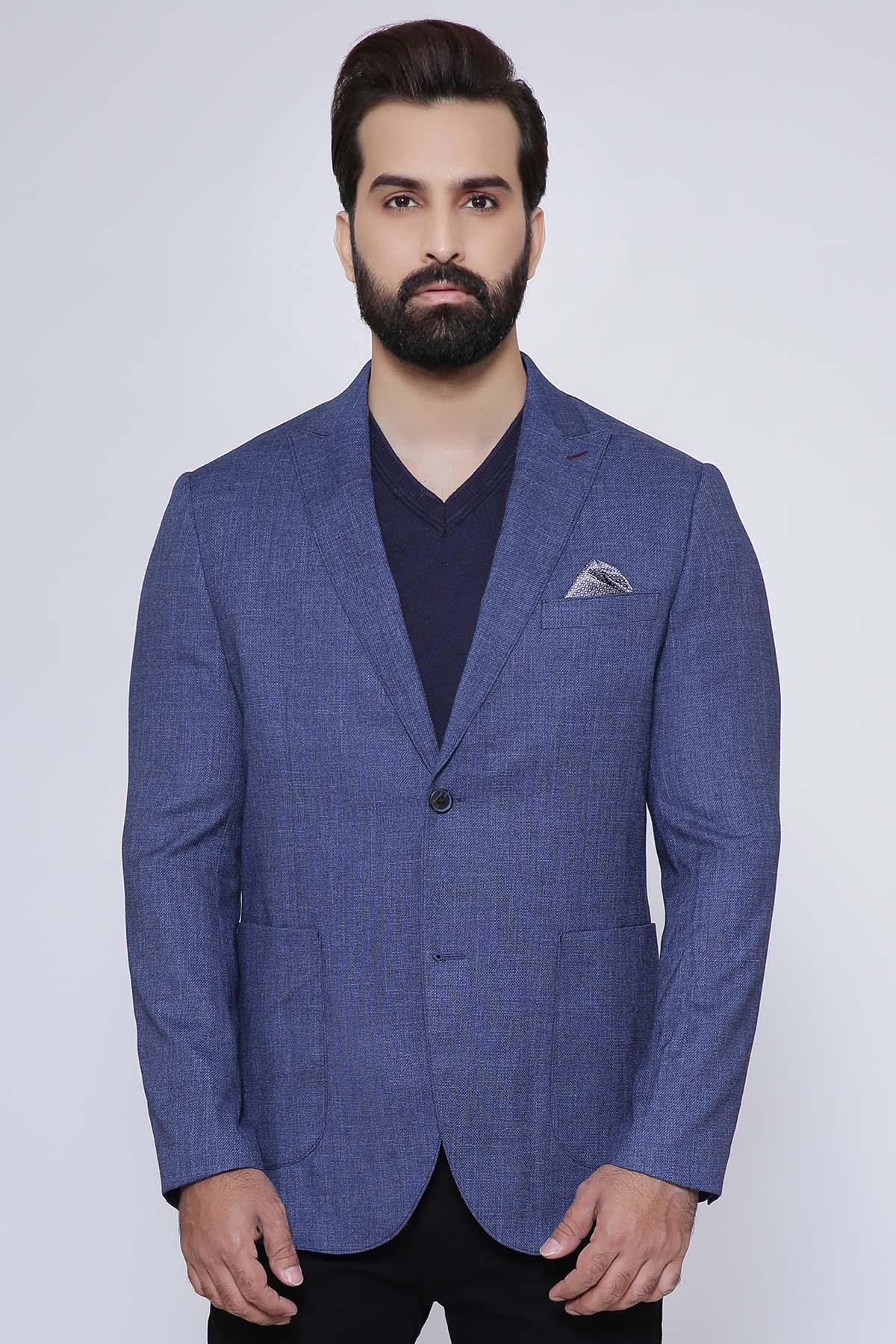 CASUAL COAT 2 BUTTON SLIM FIT BLUE - Charcoal - Suiting -