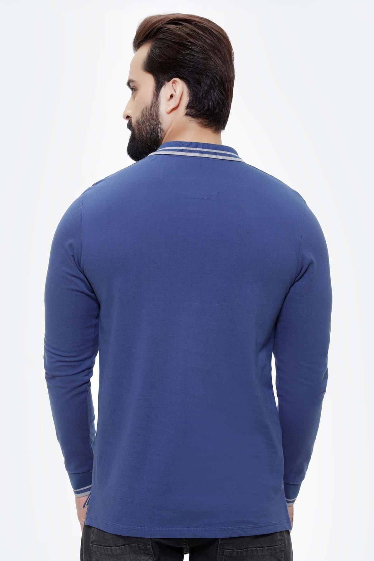 T SHIRT TIPPING COLLAR FULL SLEEVE ROYAL BLUE - Charcoal -