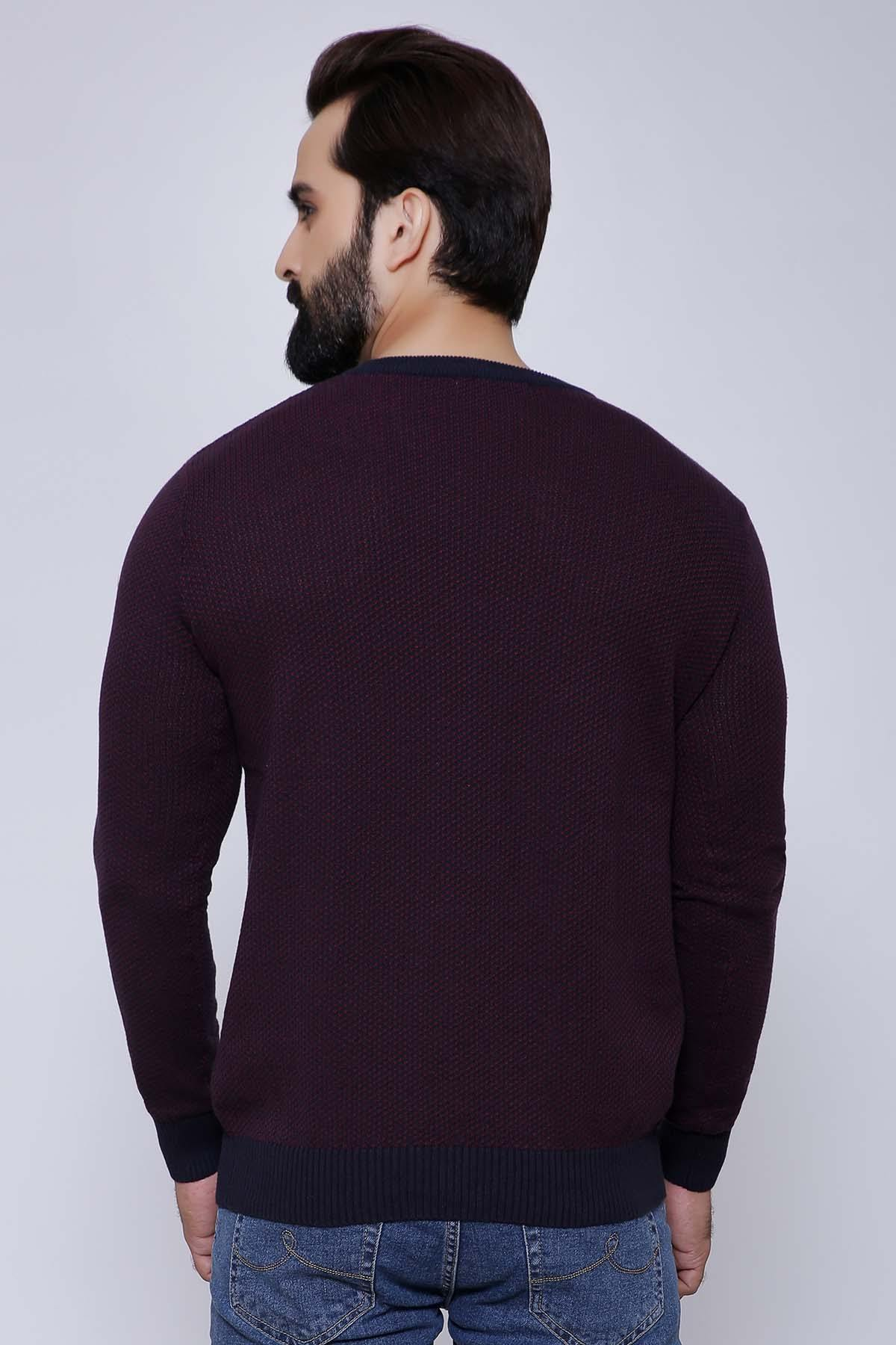 SWEATER V NECK FULL SLEEVE MAHROON - Charcoal