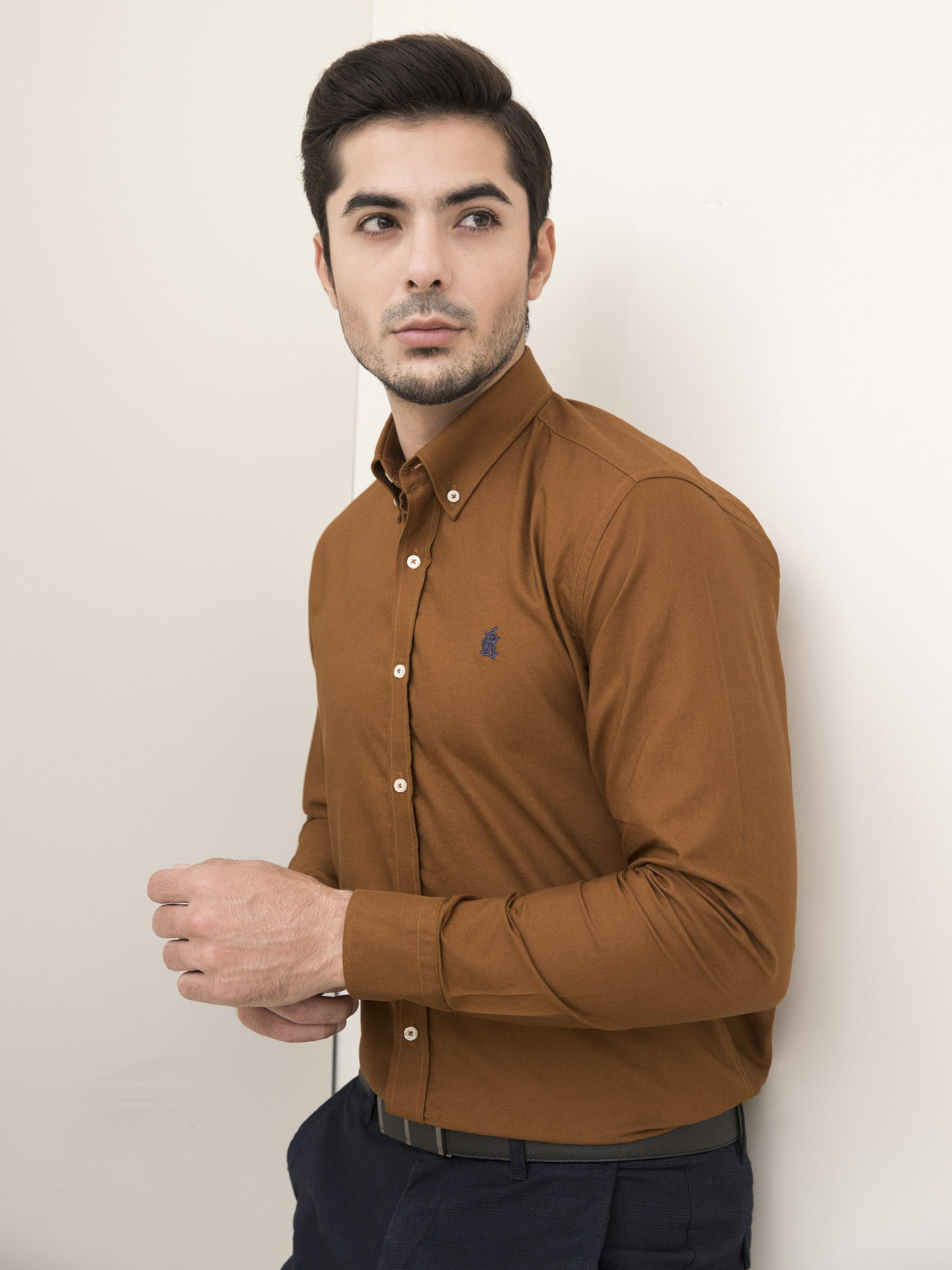SMART SHIRT BUTTON DOWN FULL SLEEVE CAMEL - Charcoal