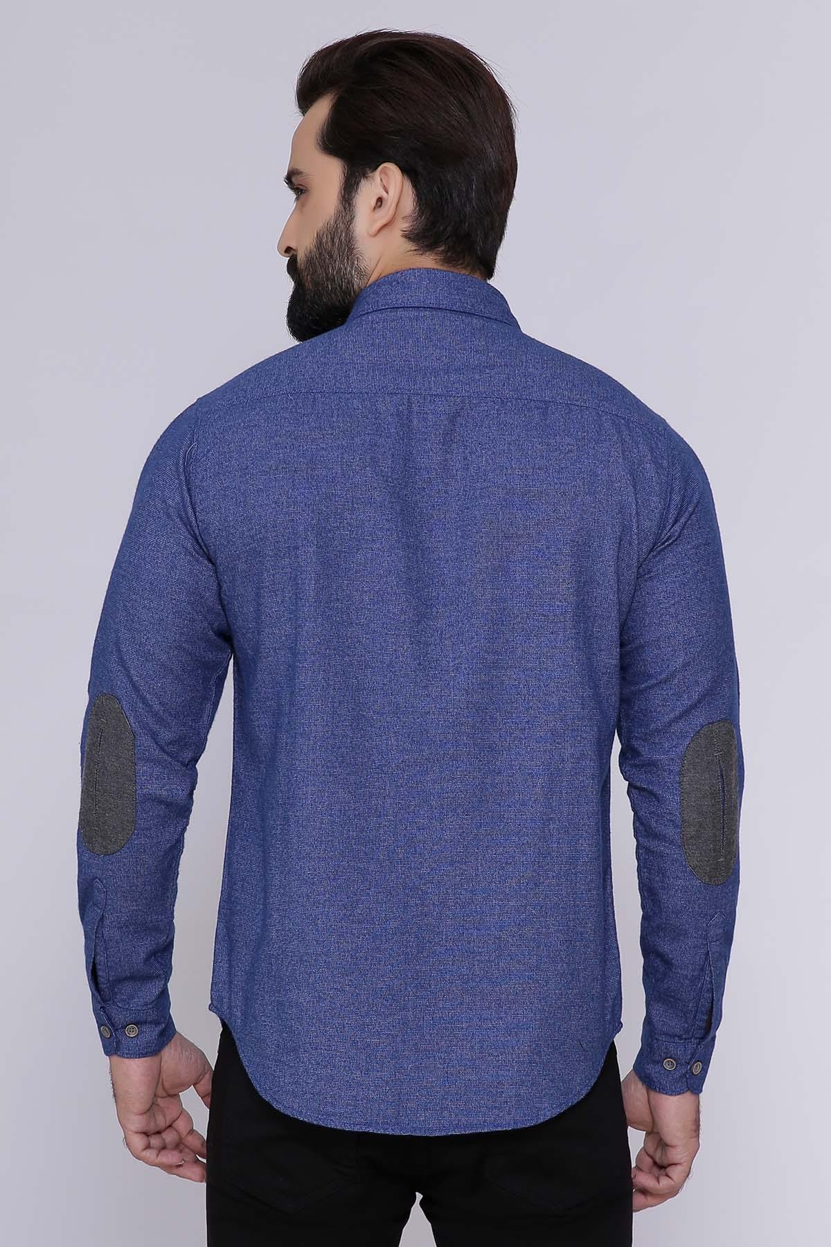 CASUAL SHIRT FULL SLEEVE SLIM FIT BLUE - Charcoal - SHIRTS -