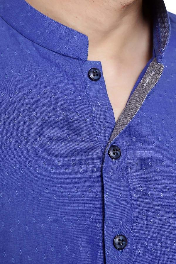 KURTA BAN COLLAR BLUE - Charcoal - 3499-3999 - Afroz - FAIR