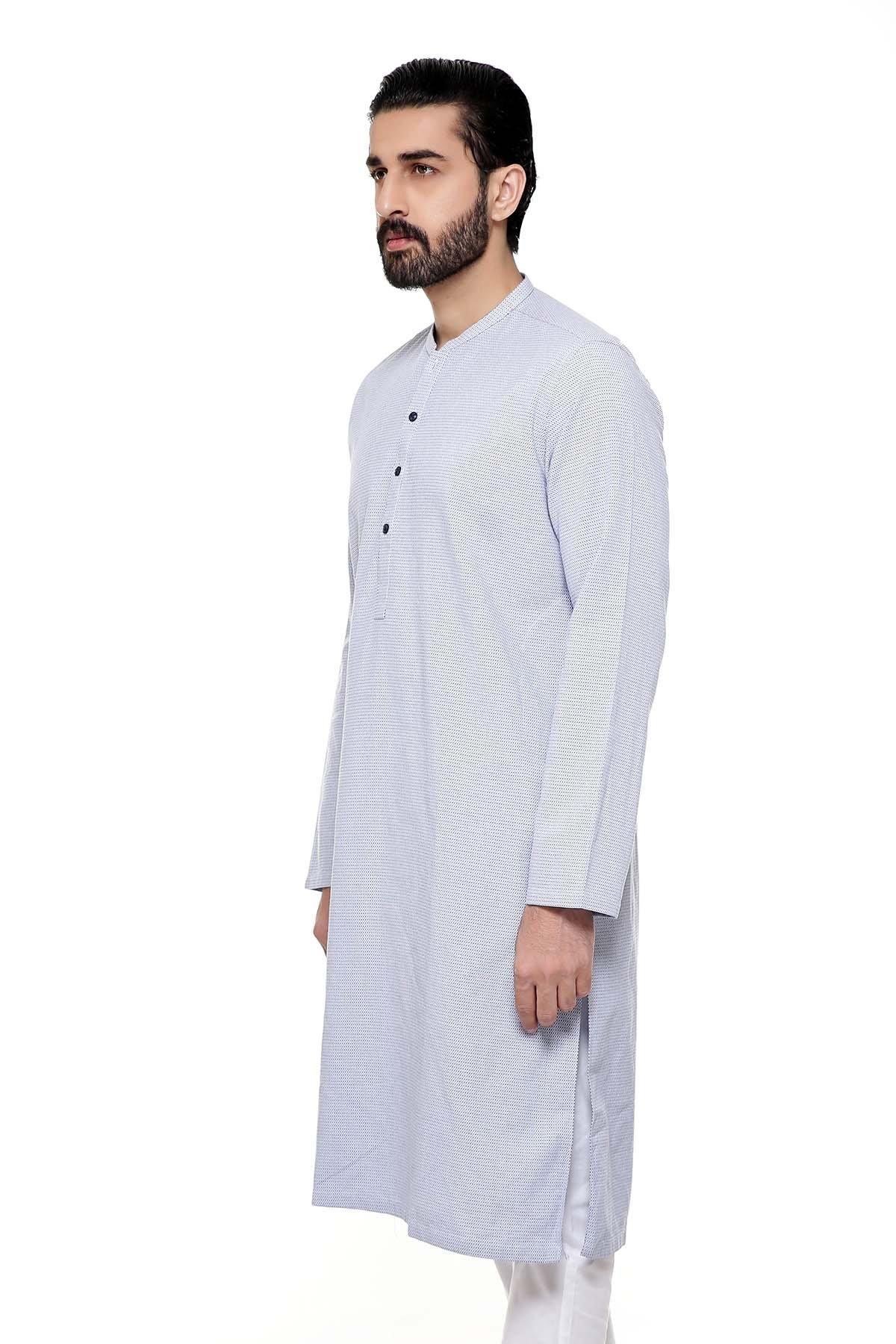 KURTA SMALL BAN COLLAR SKY BLUE - Charcoal - Afroz - FAIR