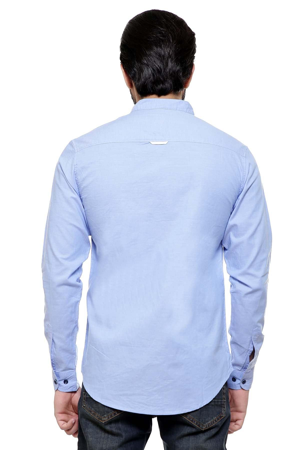 CASUAL SHIRT BAN COLLAR SKY BLUE