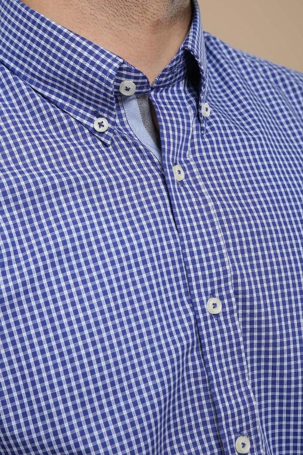 SEMI FORMAL SHIRT BUTTON DOWN FULL SLEEVE NAVY BLUE -