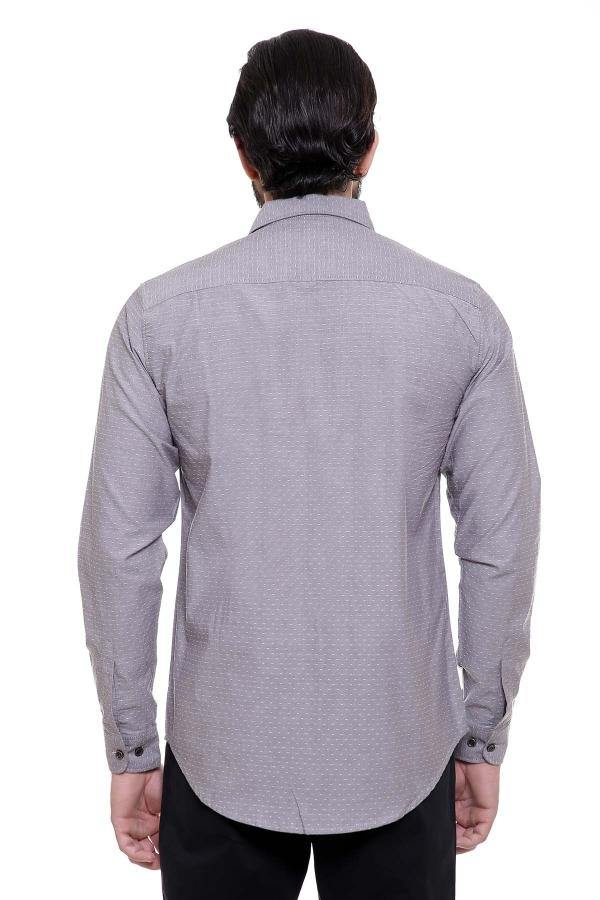 CASUAL SHIRT FULL SLEEVE GREY SLIM FIT - Charcoal -