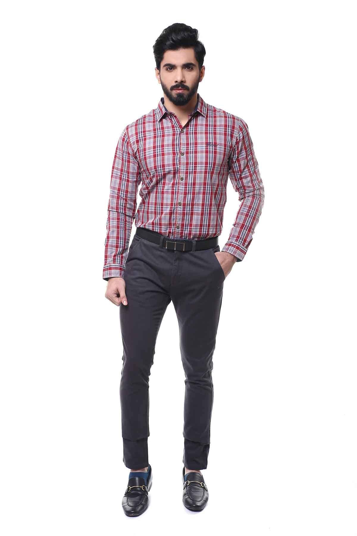 CASUAL SHIRT FULL SLEEVE MAROON GREY