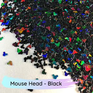 Chunky mix black mouse head polyester glitter