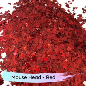 Chunky mix red mouse head polyester glitter