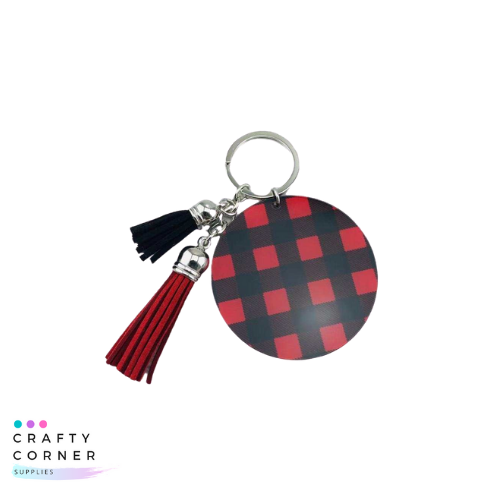 Red and black acrylic buffalo plaid keychain with two matching tassles