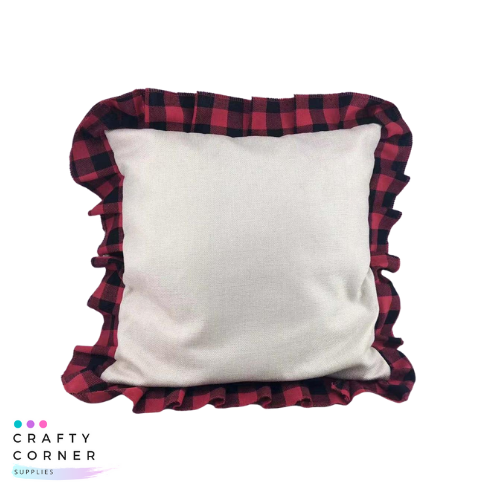 Pillow case with buffalo plaid ruffle trim
