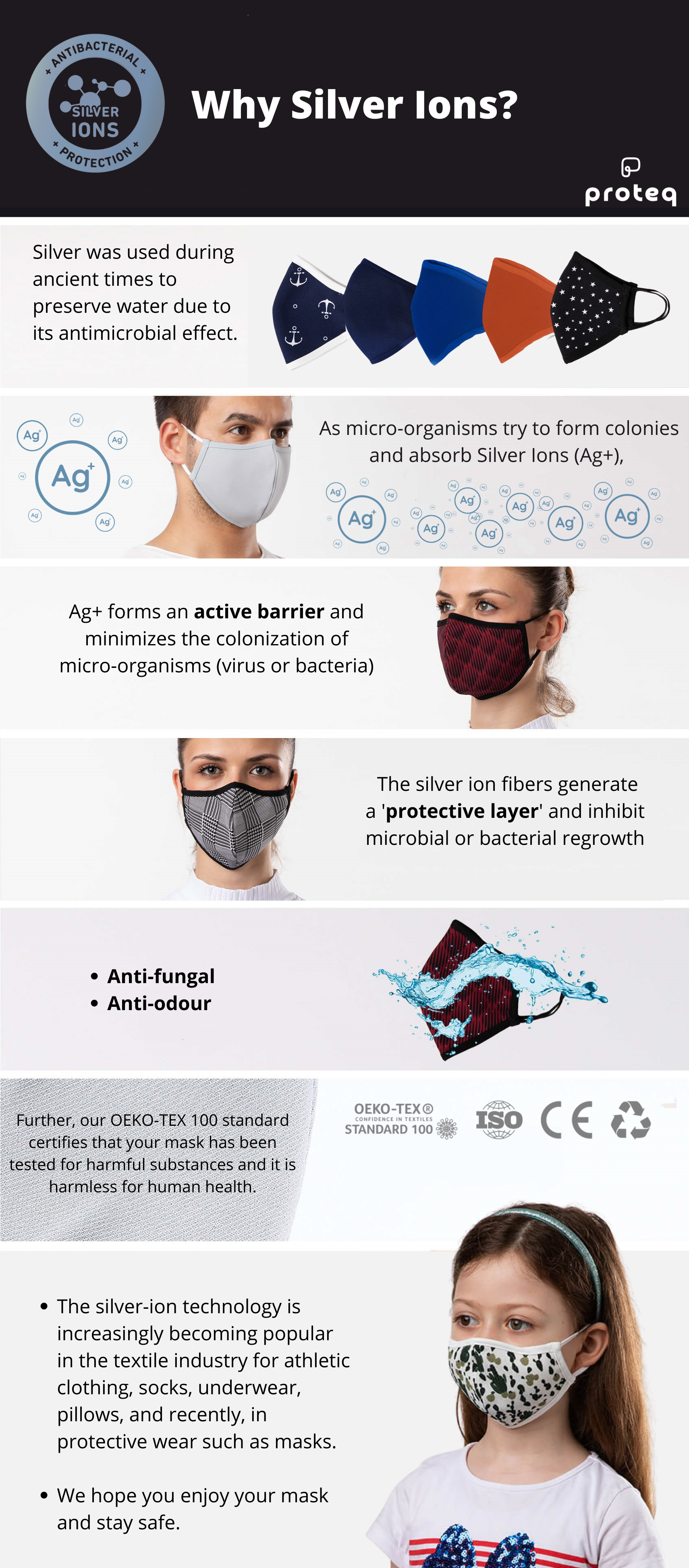 Proteq Silver Ion Canadian High Quality Masks for Kids and Adults