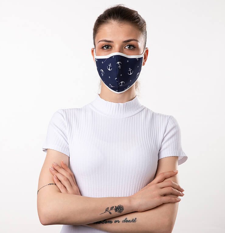 Navy Blue and White - Navy Theme Adults Protective Reusable Mask - Antibacterial Antimicrobial Fabric (Silver Ion)