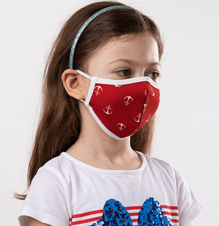 Red and White Navy Theme Kids Protective Reusable Mask - Antibacterial Antimicrobial Fabric (Silver Ion)