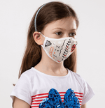 Cream, Orange, White Fun Theme Kids Protective Reusable Mask - Antibacterial Antimicrobial Fabric (Silver Ion)
