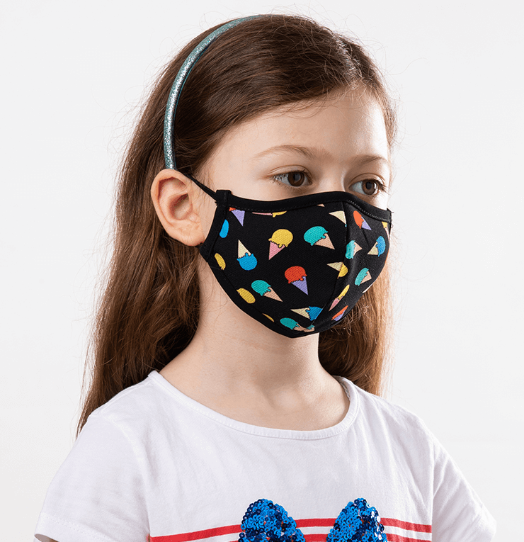 Multicolor Ice Cream Cones Theme Kids Protective Reusable Mask - Antibacterial Antimicrobial Fabric (Silver Ion)