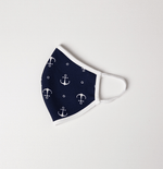 Navy Blue and White Navy Theme Adult and Kids Mask - Antibacterial Antimicrobial Fabric (Silver Ion)