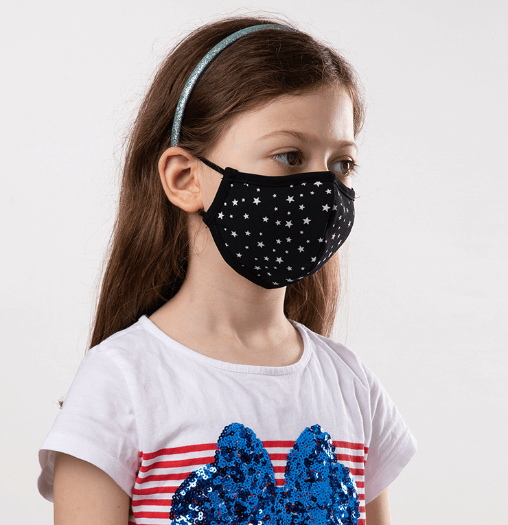 Black and White Stars Theme Kids Protective Reusable Mask - Antibacterial Antimicrobial Fabric (Silver Ion)